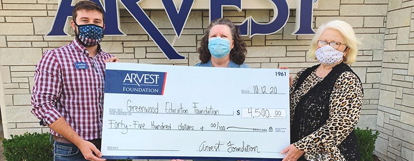 Arvest Foundation Donates $4,500 to the Greenwood Education Foundation