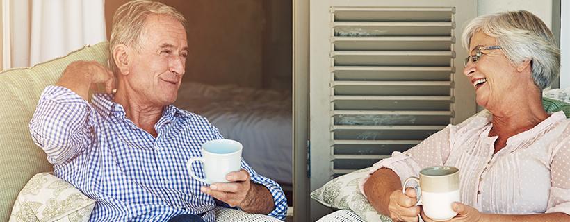 couple enjoying coffee on the porch