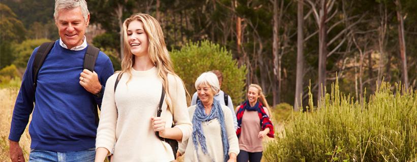 Multi generational family hiking